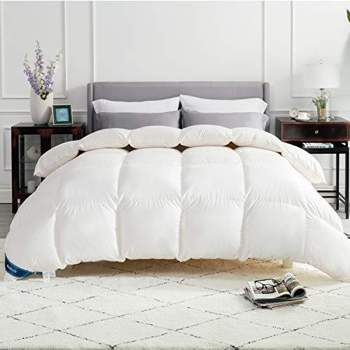 Bedsure Daunendecke Warm 135x200 Bettdecke - Federdecke Oeko-Test Zertifiziert für allergikergeeignet, Winterdecke 90% Daunen und 10% Federn, Daunen Steppdecke Weiß
